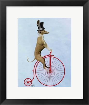 Framed Greyhound on Red Penny Farthing Print
