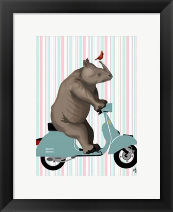 Framed Rhino on Moped Print