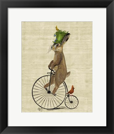 Framed March Hare on Penny Farthing Print