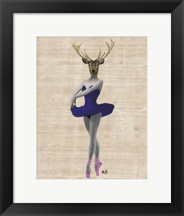 Framed Ballet Deer in Blue II Print