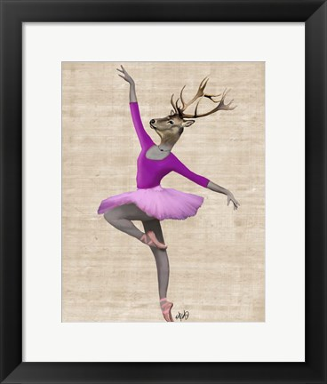 Framed Ballet Deer in Pink II Print