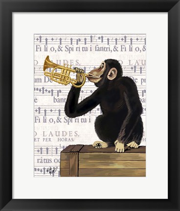 Framed Monkey Playing Trumpet Print