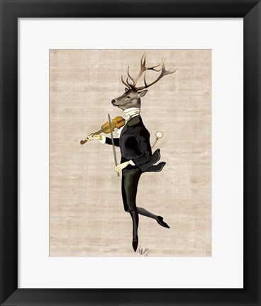 Framed Dancing Deer with Violin Print
