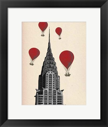 Framed Chrysler Building and Red Hot Air Balloons Print