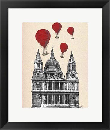 Framed St Pauls Cathedral and Red Hot Air Balloons Print
