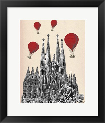Framed Sagrada Familia and Red Hot Air Balloons Print