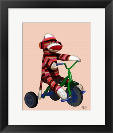 Framed Sock Monkey Tricycle Print
