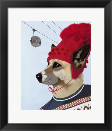 Framed Dog in Ski Sweater Print