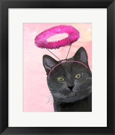 Framed Black Cat With Pink Angel Halo Print