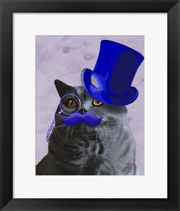 Framed Grey Cat With Blue Top Hat and Moustache Print