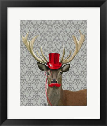 Framed Deer With Red Hat and Moustache Print