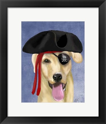Framed Yellow Labrador Pirate Print