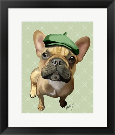 Framed Brown French Bulldog with Green Hat Print