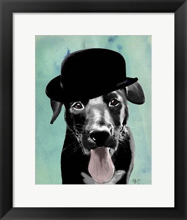 Framed Black Labrador in Bowler Hat Print