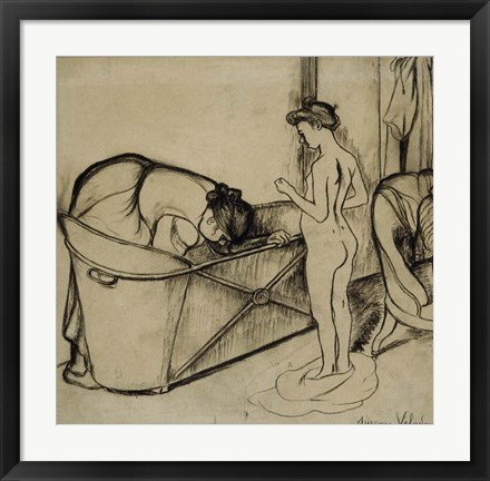 Framed Woman Cleaning a Tub and a Nude, 1908 Print