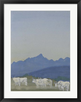Framed Three Pairs of White Bulls in Front of the Mountains Print