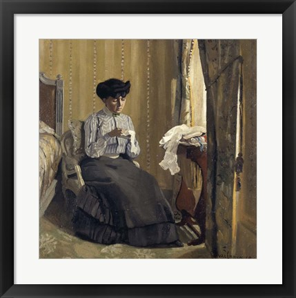 Framed Woman Sewing, 1905 Print