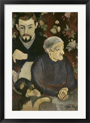 Framed Utrillo with his Grandmother and Dog, 1910 Print