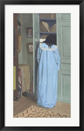 Framed Woman in Blue Searching a Cabinet, 1903 Print