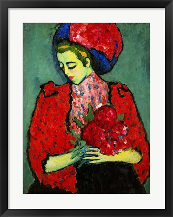 Framed Girl with Peonies 1909 Print
