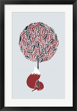 Framed Cherry Tree Fox Print