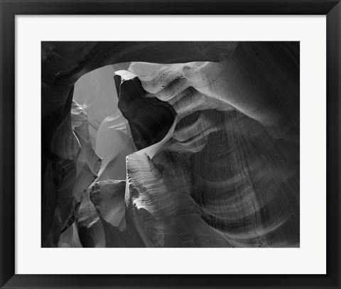Framed Upper Antelope Canyon (Black & White) Print