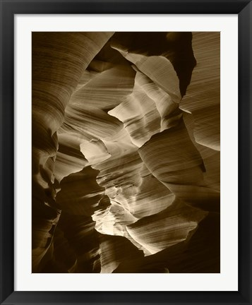 Framed Red Sandstone Walls, Lower Antelope Canyon (Sepia) Print