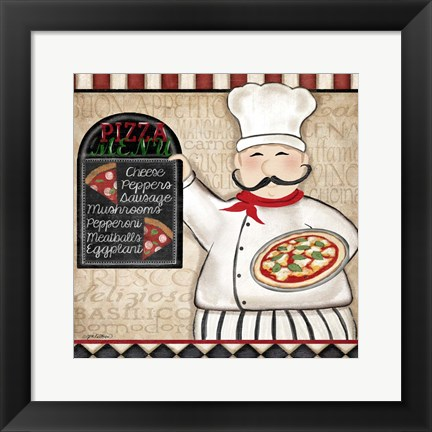 Framed Pizza Chef Print