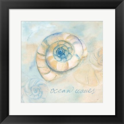 Framed Watercolor Shell Sentiments III Print