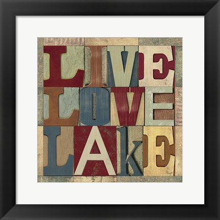 Framed Lake Living Printer Blocks II Print