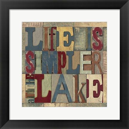 Framed Lake Living Printer Blocks III Print