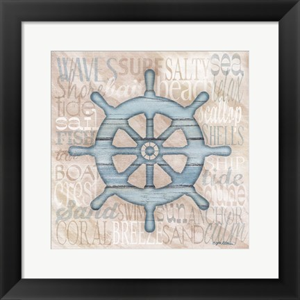 Framed Driftwood Beach Icons VI Print