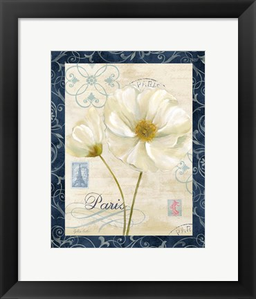 Framed Paris Poppies w/Navy Border I Print