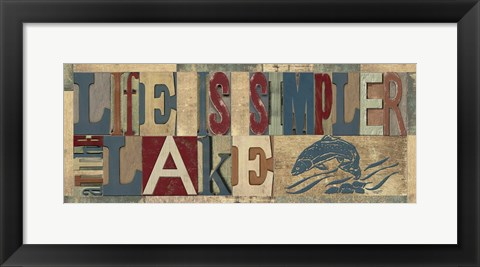 Framed Lake Living Printer Blocks Panel I Print