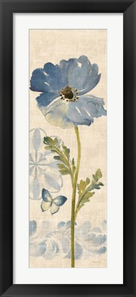 Framed Watercolor Poppies Blue Panel II Print