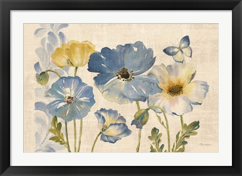 Framed Watercolor Poppies Blue Landscape Print