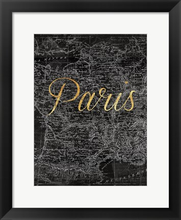 Framed Paris Script Map Print