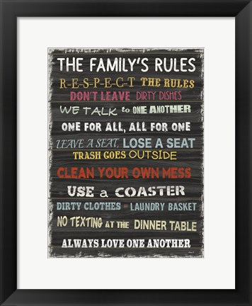 Framed Family Rules 7 Print