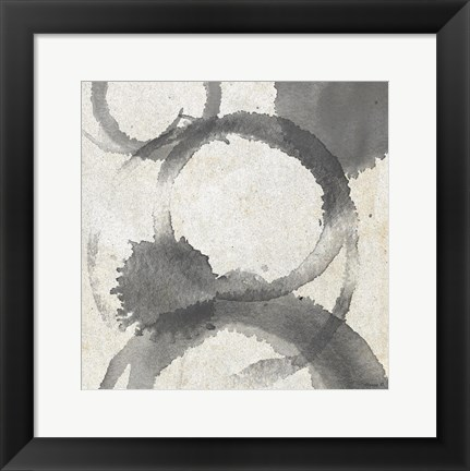 Framed Square Coffee Stains 4 Print