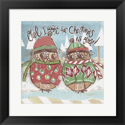Framed Christmas Owl With Text 3 Print