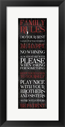Framed Family Rules Red Print