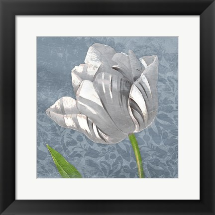 Framed Floral Focus Blue Mate Print
