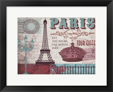 Framed Paris Series Pinks 1 Print
