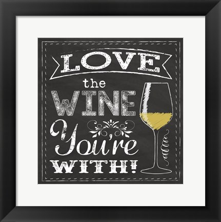 Framed Chalk Wine 1 Print