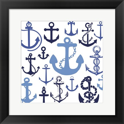 Framed Nautical Set Blues Print