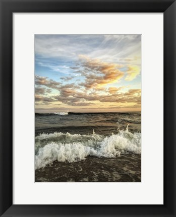 Framed Crashing Waves With Warm Sky Print