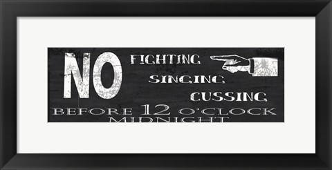 Framed No Fighting Print