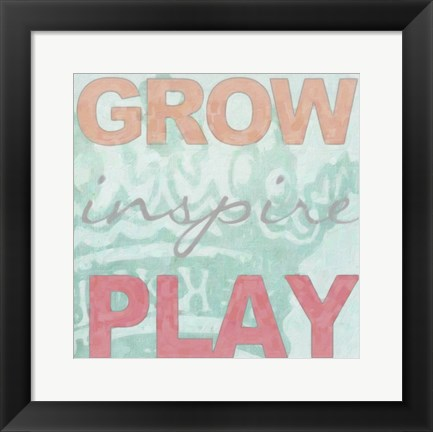 Framed Grow Inspire Play Aqua Print