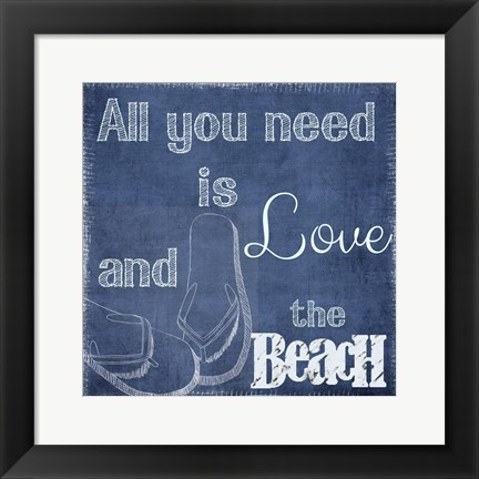 Framed Love And The Beach Print