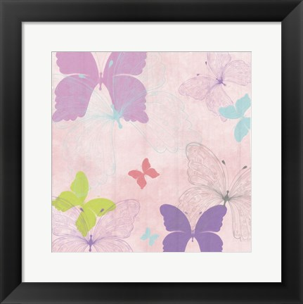 Framed Butterfly Collage I Print